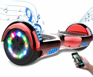 Cool&Fun 6,5 Pouces Hoverboard avec LED Flash Bluetooth Smart Scooter Skateboard Électrique Gyropode 2x350W de Boutique GyroGeek (Chrome Rouge)